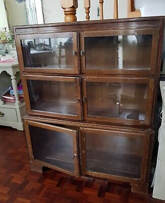 Vintage Bookcase Display Cabinet Glass door. Shabby chic restoration project