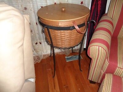 Longaberger  Rare Beverage Stand Iron Table With Corn Basket Combo Dark Stain