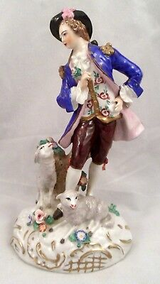 Sitzendorf Porcelain Figurine of a Shepherd with Sheep and Flowers, #4217
