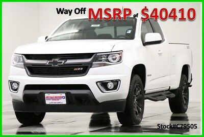 2017 Chevrolet Colorado MSRP$40410 4WD Z71 Leather GPS White Ext 4X4 New Heated Seats Navigation Camera Extended Cab Bluetooth Mylink 16 2016 17