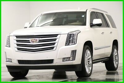 2015 Cadillac Escalade 4X4 Platinum DVD Sunroof White Diamond 4WD Used Heated Cooled Leather Navigation Captains 22 In Rims Camera 16 2016 17 15