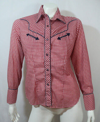 VTG Rockabilly Long Sleeve Pearl Snap Gingham Red White Women's 5/6