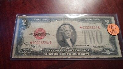 1928 D $2 US Legal Tender STAR Note  Red Seal Two Dollars