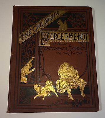 Rare Big Antique Children's Forget Me Not Picture Book! Illustrated! Bday 1879!