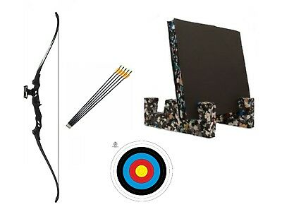 40lb Adult Complete Archery Take Down Recurve Bow Set Black 6 Arrows Target
