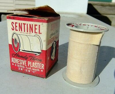 WWII No. A-7 Sentinel Brand Plaster Tape Metal Spool & Tape Wartime Package