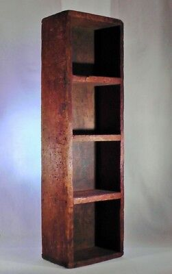 Vintage Antique Primitive Wood Box Wooden Display Storage Divided Farmhouse