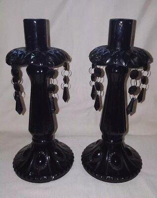 Pair Of Black Glass Gothic Style Candlestick Holders