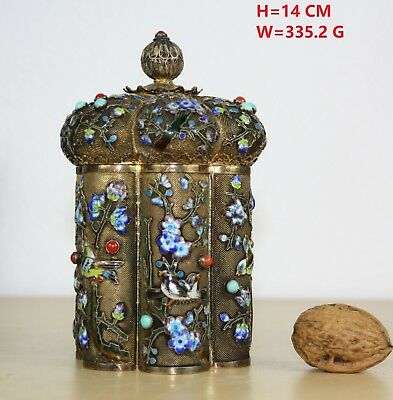 429.6 g CHINESE SILVER FILIGREE EMAIL TEA CADDY 14 cm gild CORAL TURQUOISE