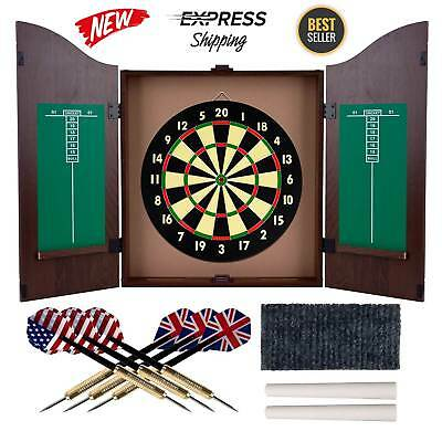 Dart Board And Cabinet Dartboard With Darts Scoreboard Set Wood Game