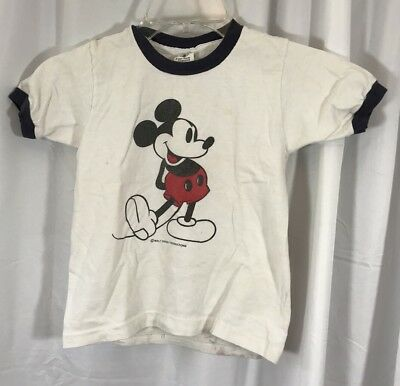 VTG 70s 80s Walt Disney Mickey Mouse Ringer Shirt Kids Cute M 6-8 Made in USA