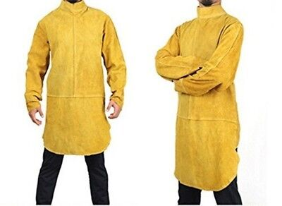 Babimax Yellow One Size Cowhide Leather Welding Apron Fire Resistant Work Jacket