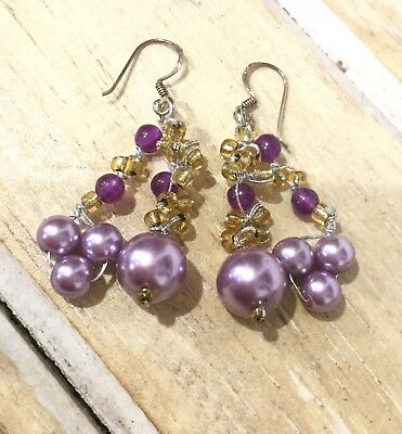 Amethyst Citrine Dangle Earrings On Sterling Silver Hooks Lilac Colour Fairtade