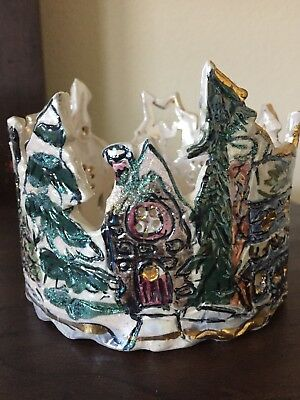 Village Candle Holder By Heather Goldminc Blue Sky Christmas Collection Luminary