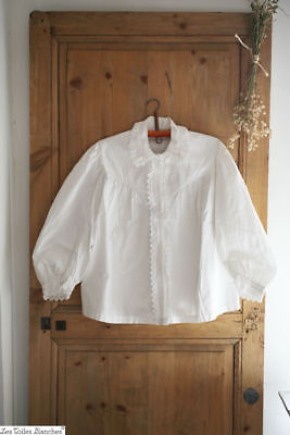 Antique French woman LINEN cotton SHIRT FRILL broderies anglaises c1880