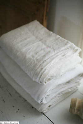 3 antique French HOMESPUN heavy linen CENTRAL SEAM sheets WASHED c1850