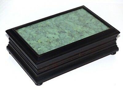 Antique Late 19th Century Ebonised Wooden Table Box / Casket –faux Malachite top