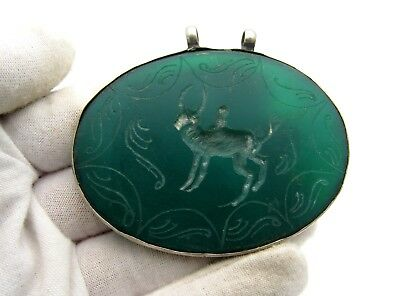 Post Medieval Green Stone Carved Amulet Depicting Bull - B588