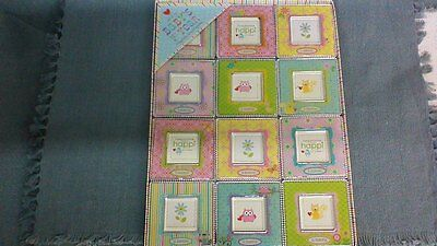 NEW! 12 pc Set CUPCAKES & CARTWHEELS Baby's 1st Year Magnetic Photo Frames