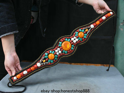 "25"" Old Tibet Ethnic Coral Shell Turquoise Dzi Bead Women Waistband Waist Chains"