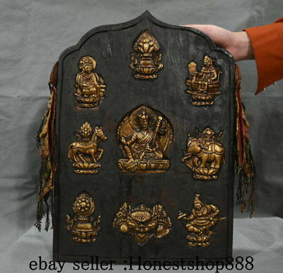 "17"" Old China Copper Wood Guru Padmasambhava Rinpoche Hang Tangka Thangka Mural"