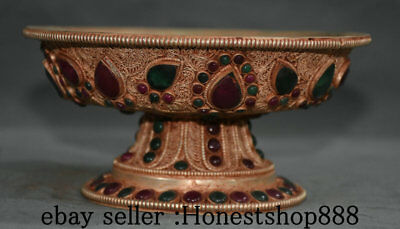 15CM Tibet Silver Filigree Gem Religion Handwork High Legs Fruit Food Dish Plate