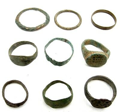 Lot Of 9 Roman / Medieval Bronze Rings For Cleaning - Wearable Stunning - B608