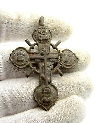 Late / Post Medieval Bronze Cross Pendant - Rare Wearable Artifact Great B612