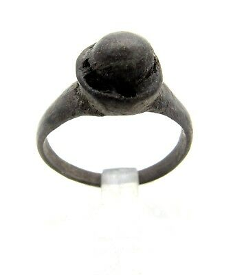 Medieval Bronze Ring W/ Glass Gem/stone In Beze -Ancient Wearable Artifact- B620
