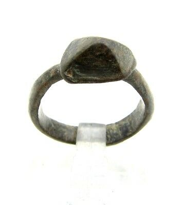 Medieval Bronze Ring W/ Pyramid  -Ancient Wearable Artifact- B621