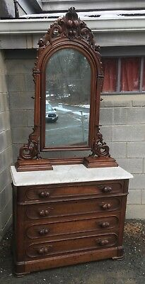 Victorian Walnut Marble Top Mirrored Dresser