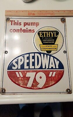 Rare original sign speedway 79 gas station oil pump plate embossed