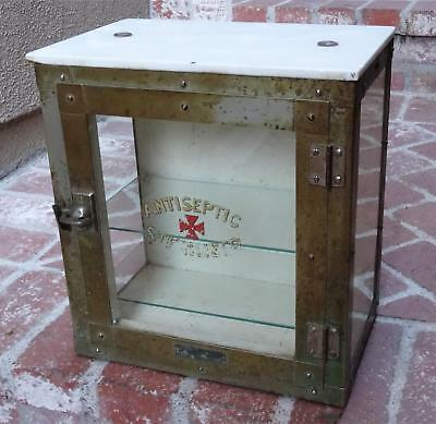 ANTIQUE VTG BARBER GLASS MARBLE CABINET CASE steampunk Emil J Paidar CO CHICAGO