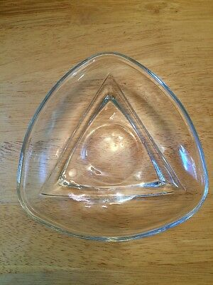 ·Mid-Century Modern Triangular Dish MCM Triangle Bowl Rounded Clear Glass Heavy