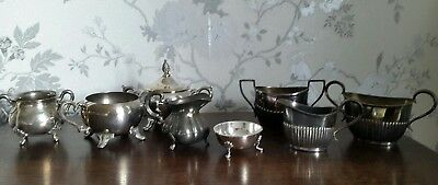 8 Vintage Silver Plated Sugar Bowls & Creamers