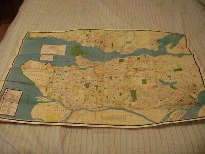 1950 Greater Vancouver British Columbia BCTransit System Map & Street Index