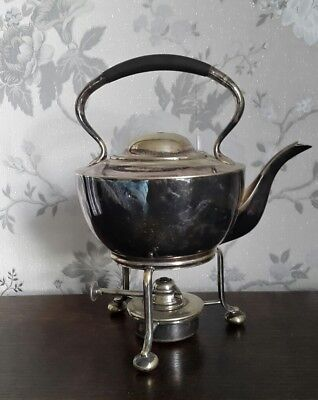 A Vintage Silver Plated Spirit Kettle on Stand with Burner