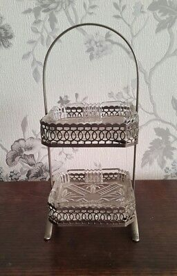 A Vintage Metal Stand with Glass Inserts