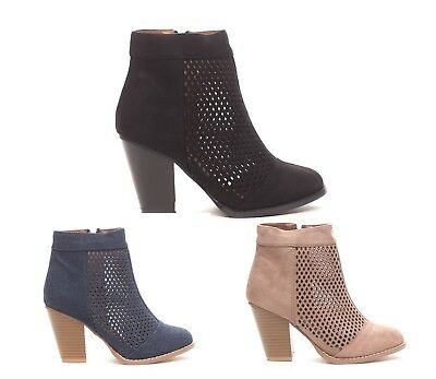 New Soho Shoes Women's Laser Cut  Casual Ankle Bootie Boots