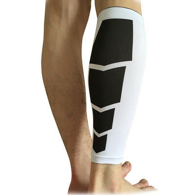 White M Size Knee Sleeve Leg Support Brace Sport Compression Running Protective