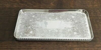 A Vintage Silver Plated Rectangular Tray with Engraved Design