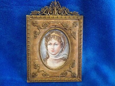 ✨French Hand Painted Miniature Portrait, 19th Century. Gilt  Frame ✨