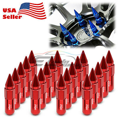Red 20 PCS M12X1.25 Lug Nuts Spiked Extended Tuner Aluminum Wheels Rims Cap