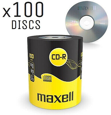 GENUINE MAXELL 100x CD-R BLANK RECORDABLE DISCS CDs MEDIA BLANK DISKS 52X SPEED