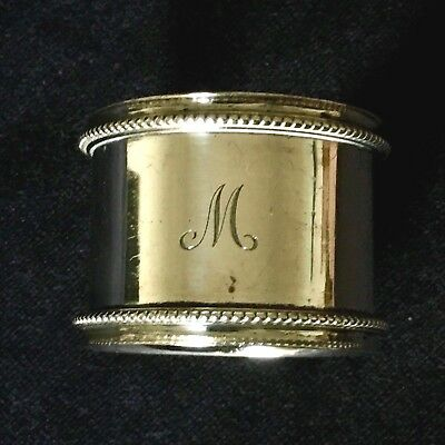 Victorian Solid Silver Napkin Ring Engraved Initial 'M' - London 1882 - 25.7g