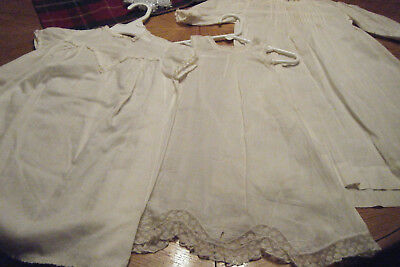 Antique Vintage  Christening Dresses  Night Gown Baby Doll  Lot Of 3