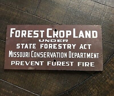 Vintage Missouri Forest Prevention Fire Conservation Sign Hunting & Not Smokey