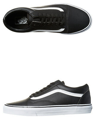 New Vans Skate Men's Old Skool Leather Shoe Rubber Synthetic Black