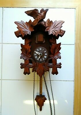Cuckoo Clock Vintage Black Forest Style German Made Weighted