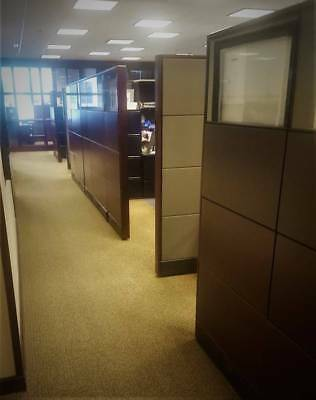 Herman Miller Etho Office Furniture Cubicles / Workstations (60) Wood & Glass!